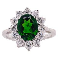 Russalite Diamond Ring, White Gold, 2 Ct Russalite w 1 Carat Diamonds