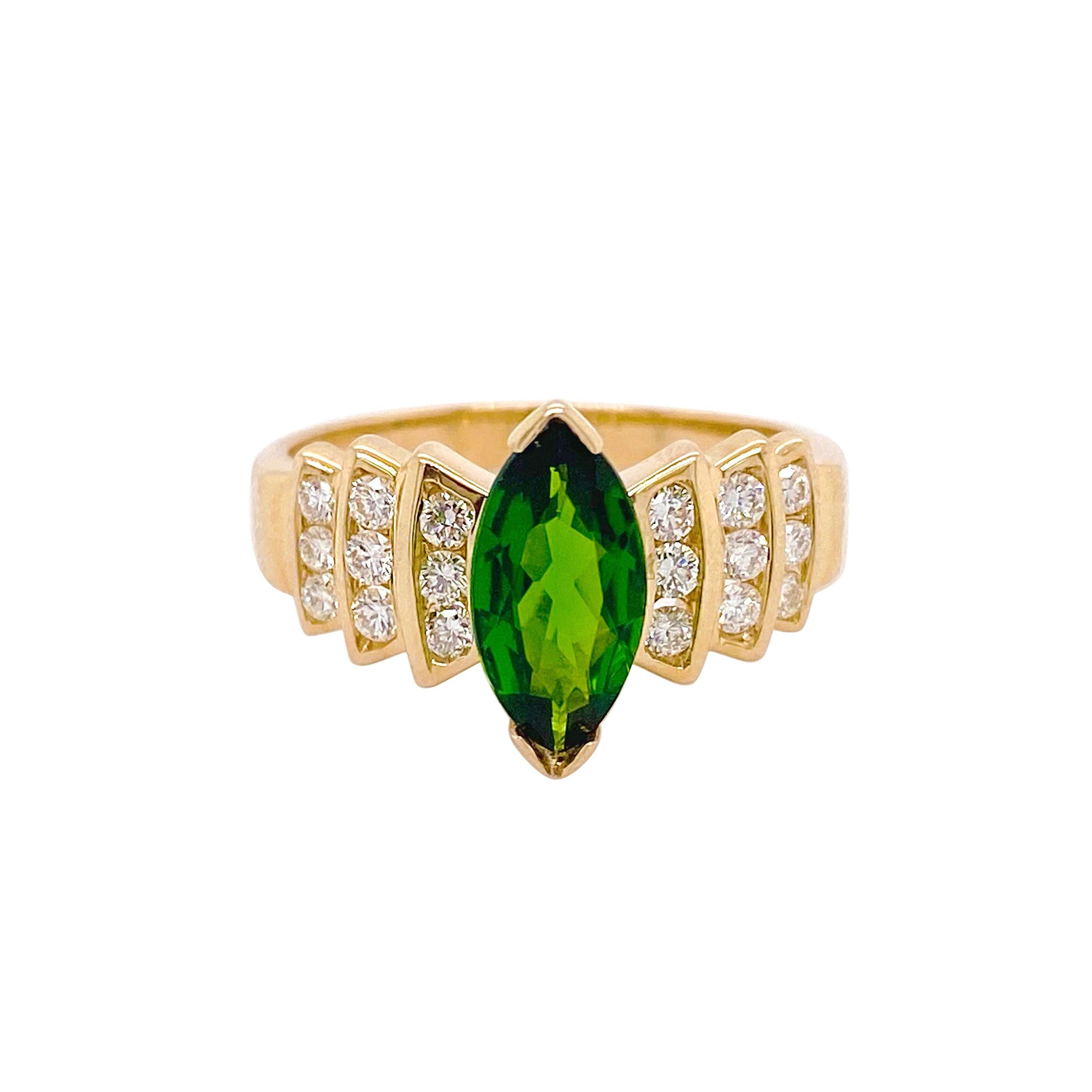 Russalite Diamond Ring, Yellow Gold, 1.10 Ct Marquise Cut Russalite, 18 Diamonds
