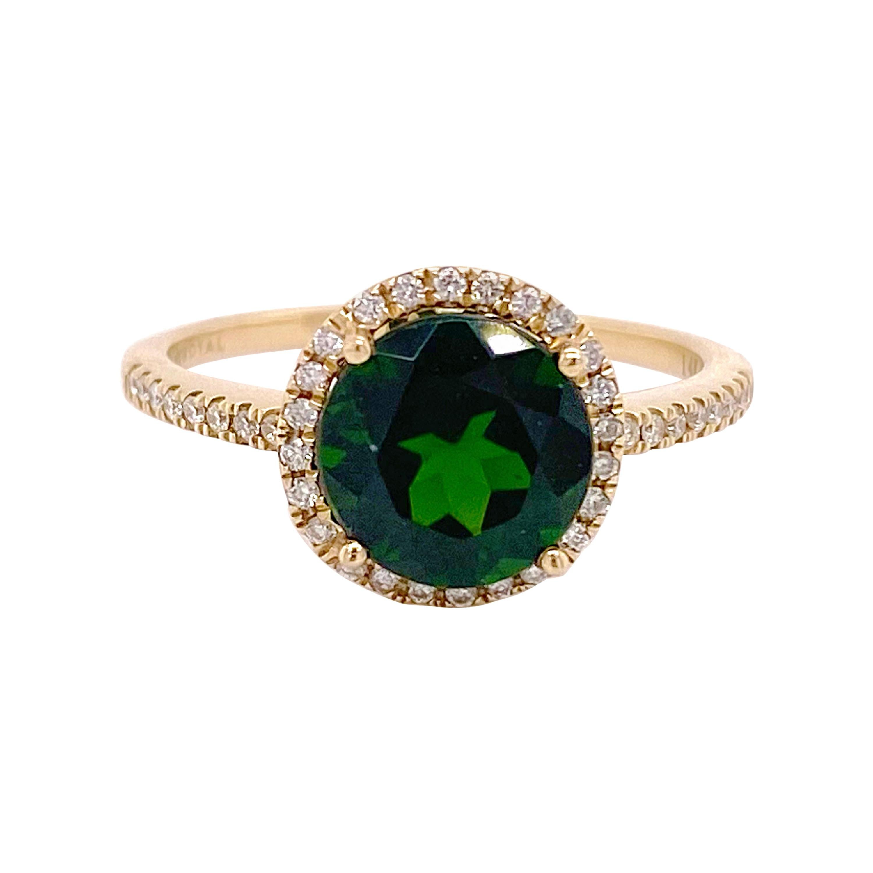 Russalite Diamond Ring, Yellow Gold, Diamond Halo Natural Round Emerald Ring