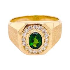 Russalite Men Diamond Ring, Yellow Gold, Oval Green Natural Gemstone Signet Ring