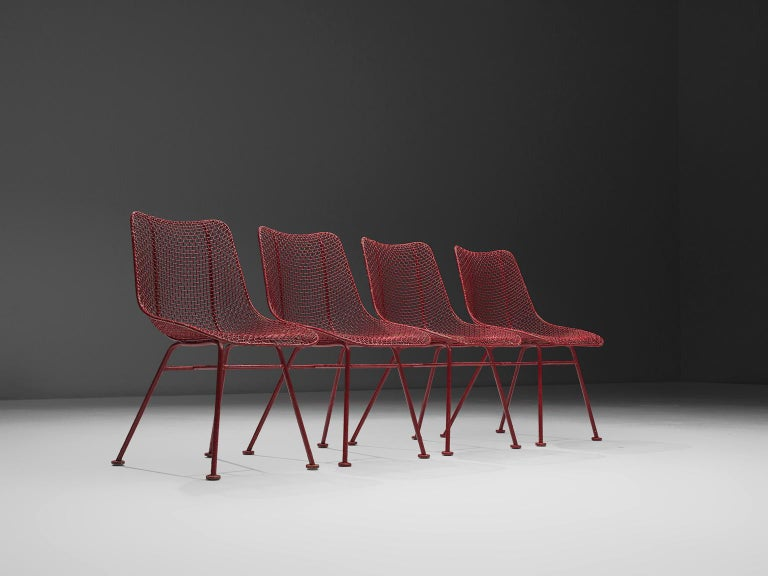 Mid-Century Modern Russall Woodard 'Sculptura' Set of Four Red Patio Chairs For Sale