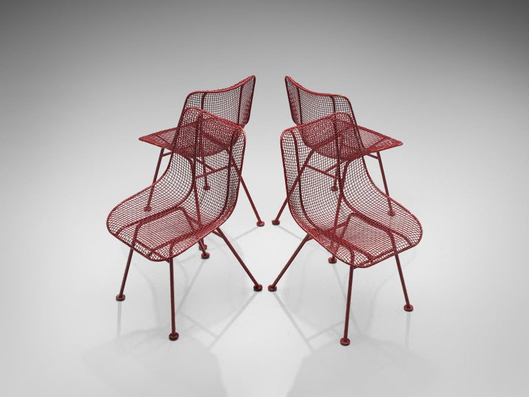 American Russall Woodard 'Sculptura' Set of Four Red Patio Chairs For Sale