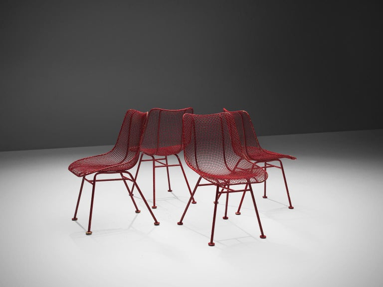 Lacquered Russall Woodard 'Sculptura' Set of Four Red Patio Chairs For Sale