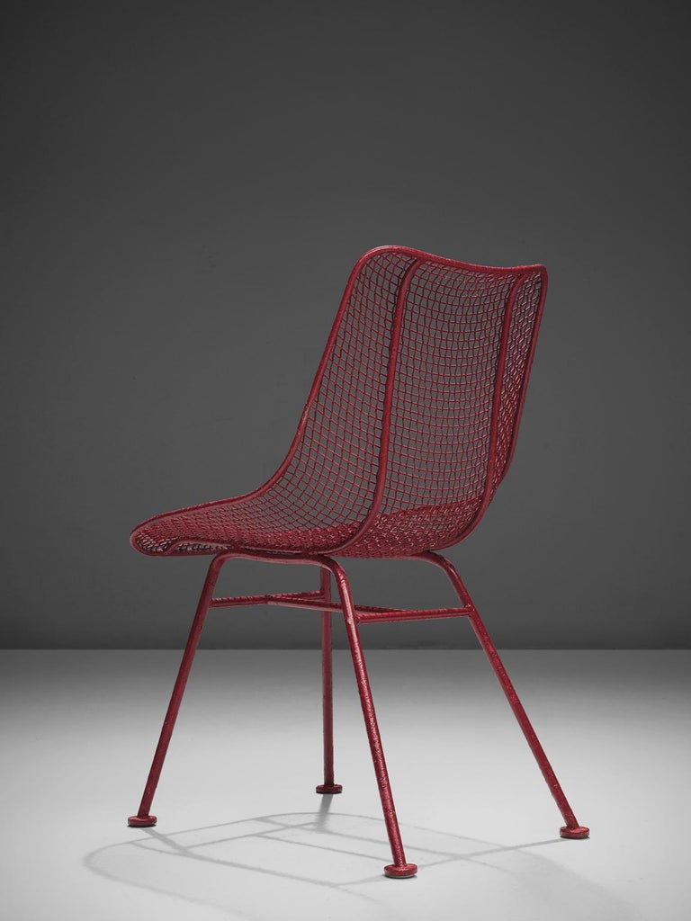 Mid-20th Century Russall Woodard 'Sculptura' Set of Four Red Patio Chairs For Sale
