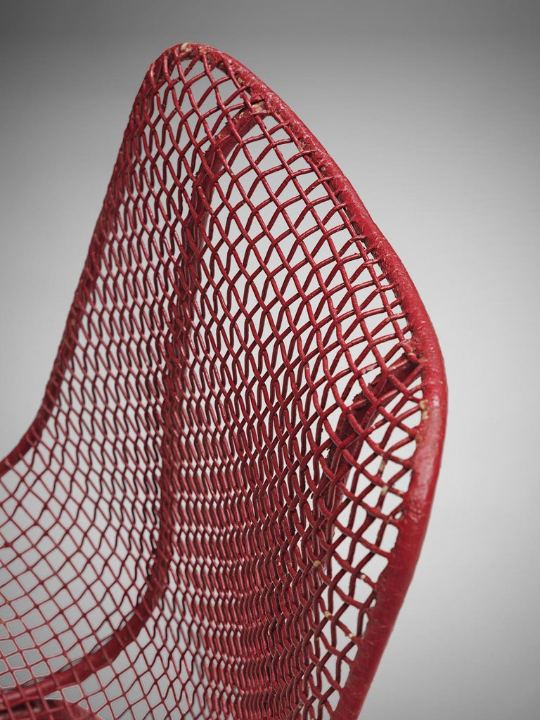 Russall Woodard 'Sculptura' Set of Four Red Patio Chairs For Sale 1