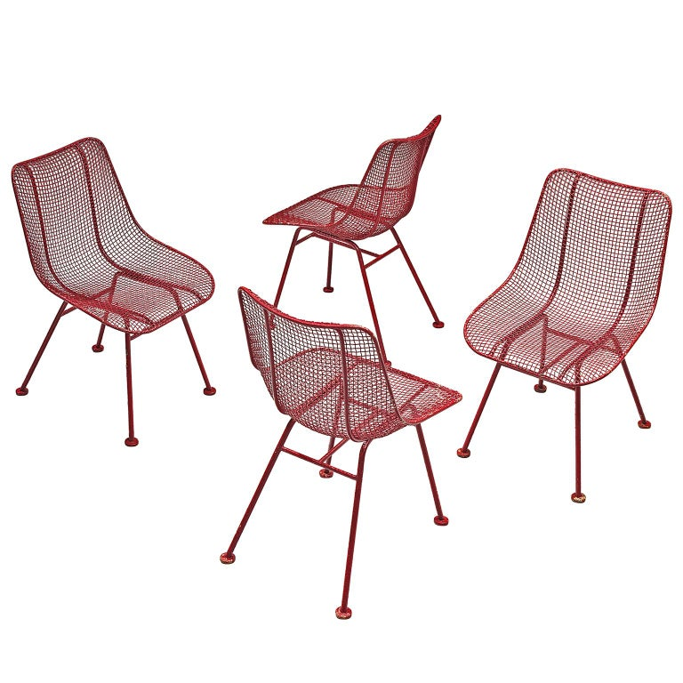 Russall Woodard 'Sculptura' Set of Four Red Patio Chairs For Sale