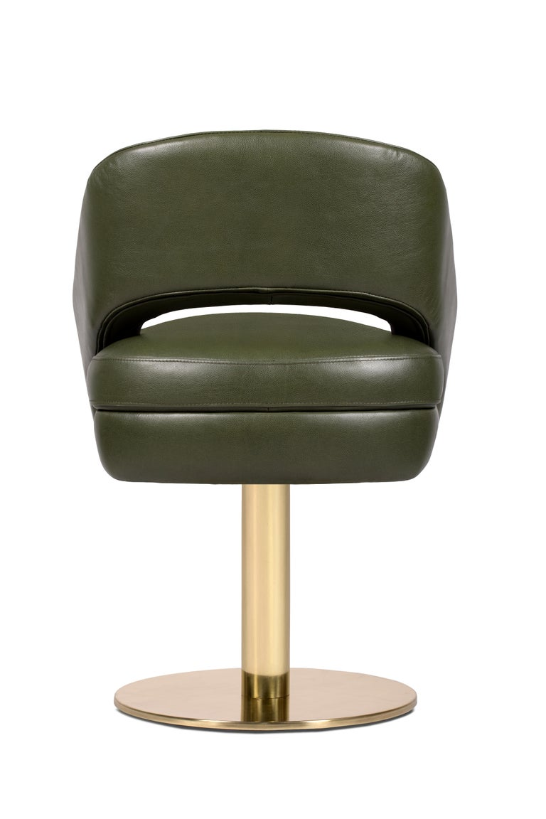 Russel Dining Chair In Olive Green With Brass Base For