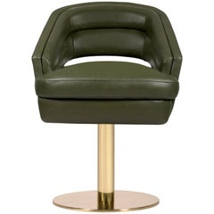 Russel Dining Chair in Olive Green with Brass Base