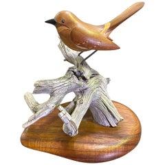 Russell Russ Graff Signed Hawaiian Artist Inlaid Carved Wood Bird Sculpture