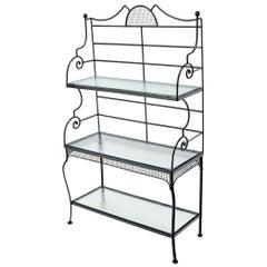 Russel Woodard Wrought Iron Scrolls Glass Shelves Bakers Rack