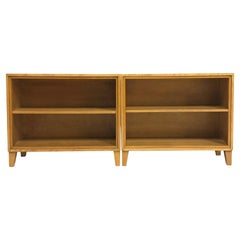 Russel Wright for Conant Ball Blonde Maple Bookcases Shelves Display Shelf, Pair
