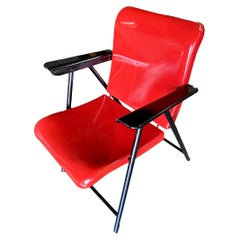 Russel Wright Outdoor/Patio Steel Folding Chair by Schwayder Bros, 8 Available