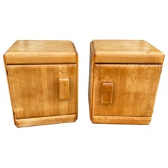 Russel Wright Pair of American Modern Solid Maple Nightstands