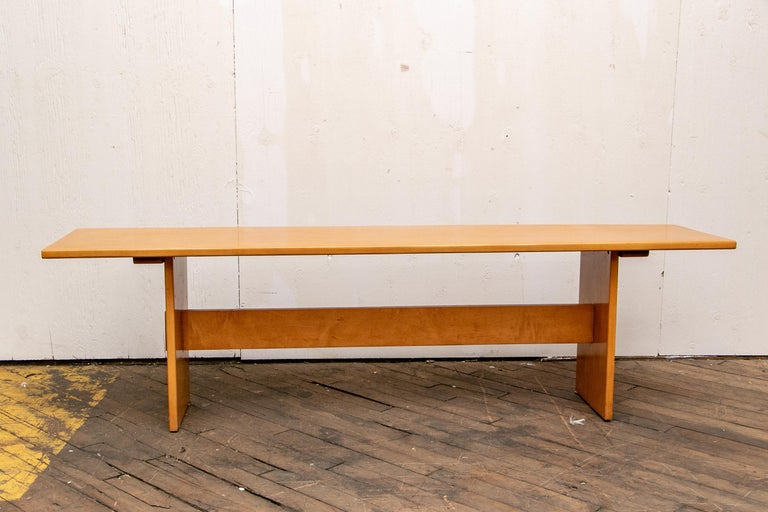 Russel Wright Set of a Maple Table and Two Benches For Sale 5
