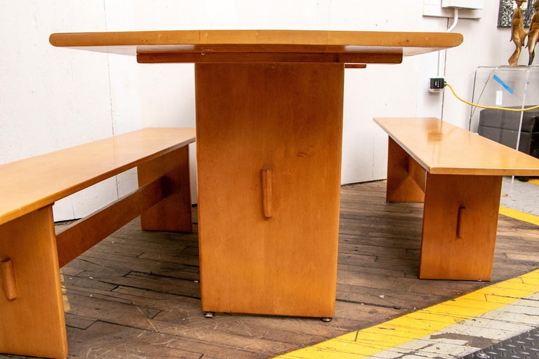 Russel Wright Set of a Maple Table and Two Benches For Sale 12