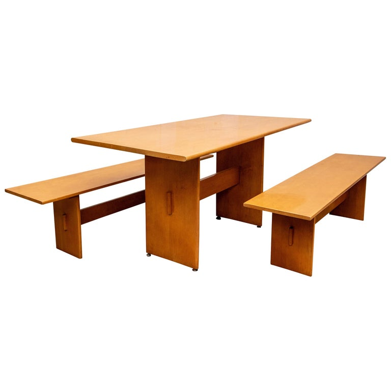 Russel Wright Set of a Maple Table and Two Benches For Sale