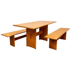 Russel Wright Set of a Maple Table and Two Benches