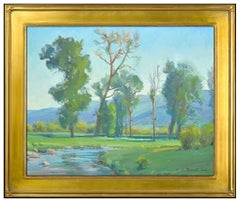 G Russell Case Original Painting Oil On Canvas Signed Landscape Water Tree Art
