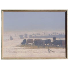 Russell Chatham Oil Painting, 1992, Cattle in Fog