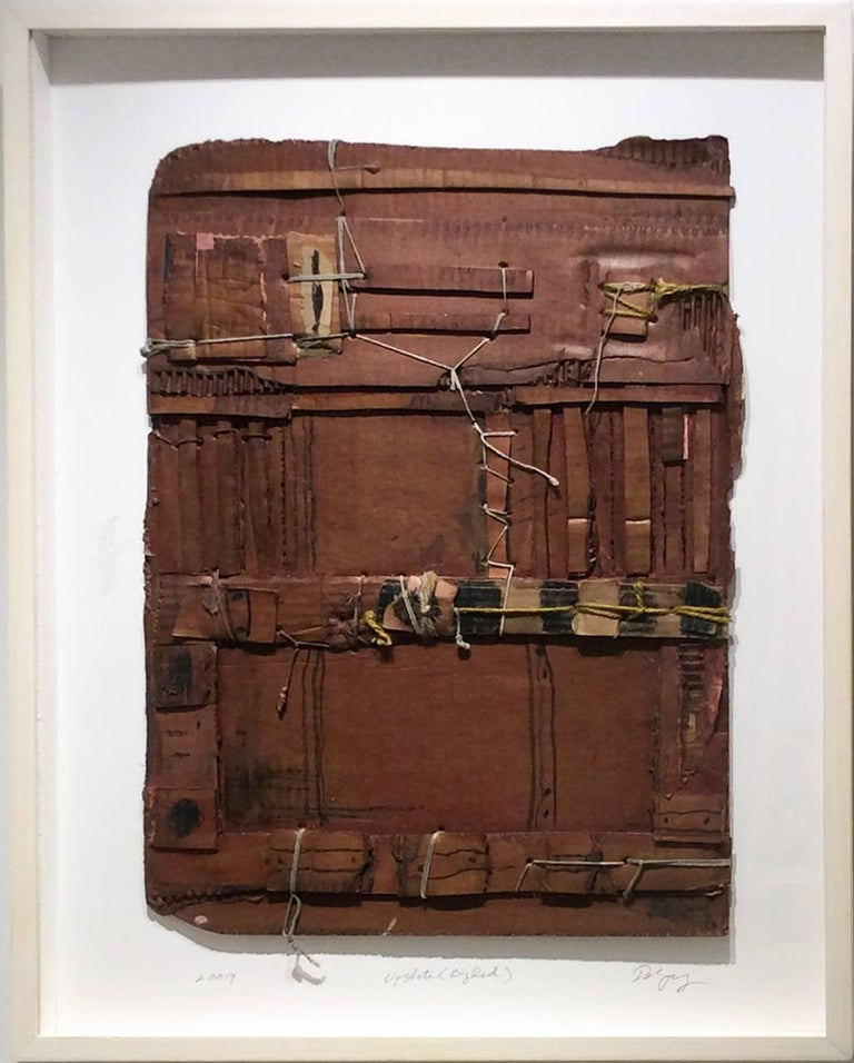 Upstate (Big Red): Contemporary Mixed Media Cardboard Construction with String