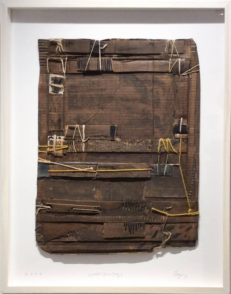 Upstate (Dark Gray): Contemporary Mixed Media Cardboard Construction with String