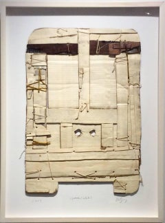 Upstate (White): Contemporary Mixed Media Cardboard Construction with String
