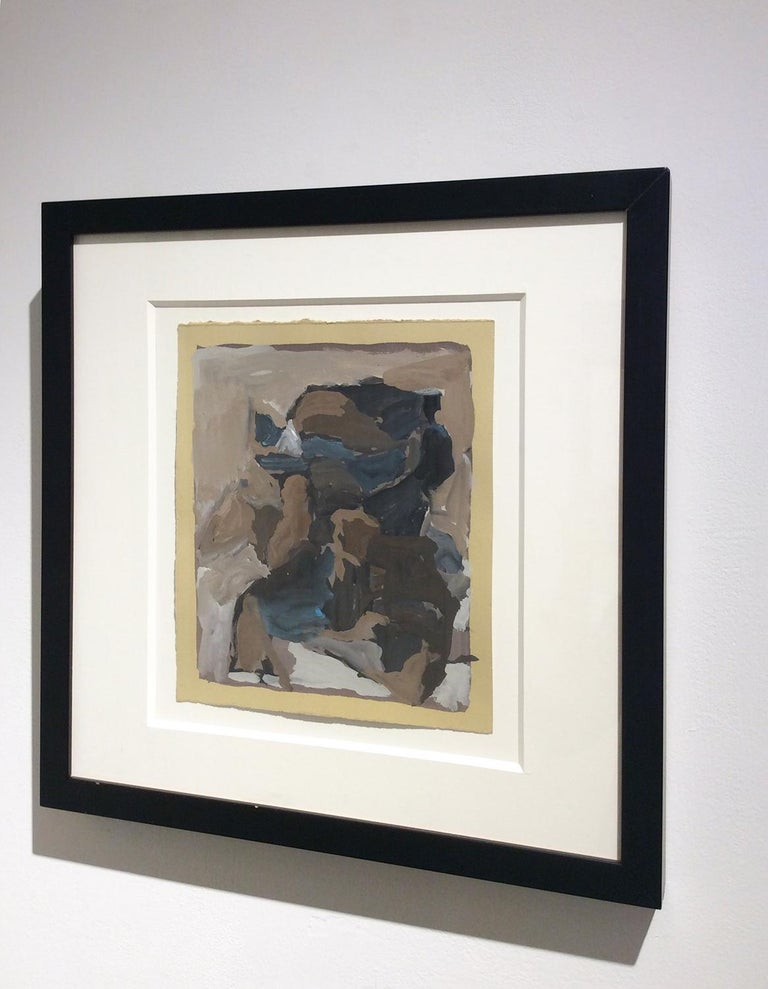 Kingfisher (Gestural Neo Expressionist Gouache painting on paper, framed) - Neo-Expressionist Painting by Russell DeYoung