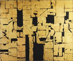 Gold Block II - Parsival -contemporary abstract black and gold leaf on canvas