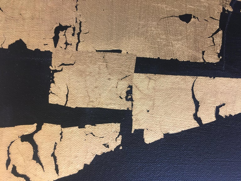 Gold Block IV Taranis - contemporary abstract black and gold leaf on canvas For Sale 2