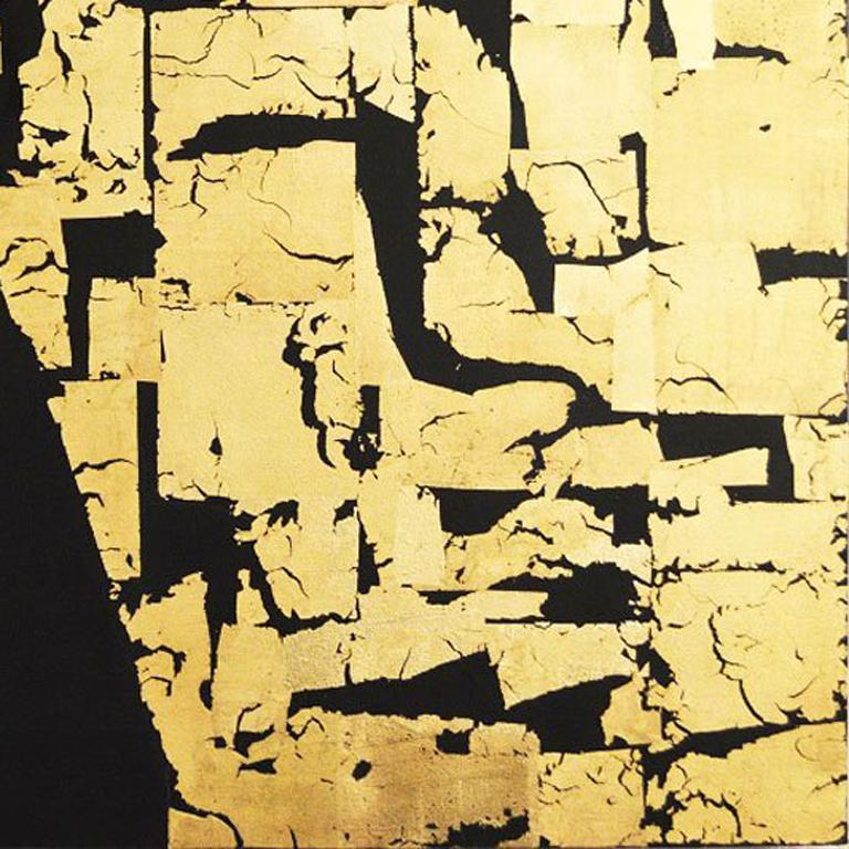 Gold Block IV Taranis - contemporary abstract black and gold leaf on canvas - Contemporary Mixed Media Art by Russell Frampton