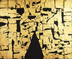 Gold Block IV Taranis -contemporary abstract black and gold leaf on canvas