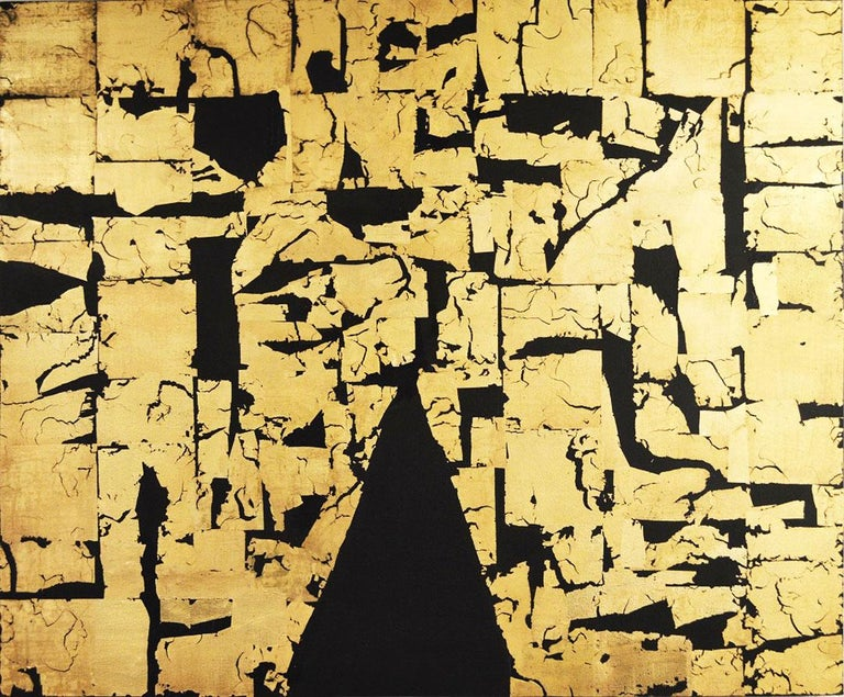 Gold Block IV Taranis - contemporary abstract black and gold leaf on canvas - Mixed Media Art by Russell Frampton