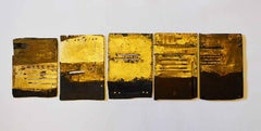 Iron Age Tidal Markers -contemporary black and yellow multi-piece mixed media