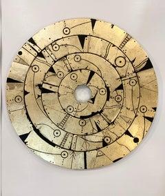 Kabdhilinan Disk - Gold / Metal Leaf & Acrylic on Wood: Magical-realism inspired