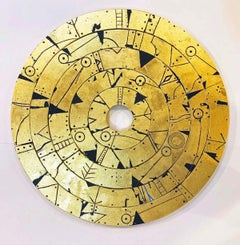 Miaplacidus Disk - Gold/Metal Leaf & Acrylic on Wood:  Magical-realism inspired