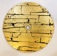 Solinus Shield - Gold / Metal Leaf & Acrylic on Wood:  Magical-realism inspired