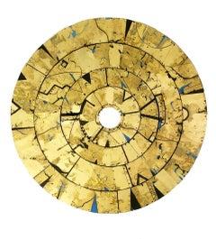 Vindemiatrix Disc - mixed media gold metallic leaf wood circular
