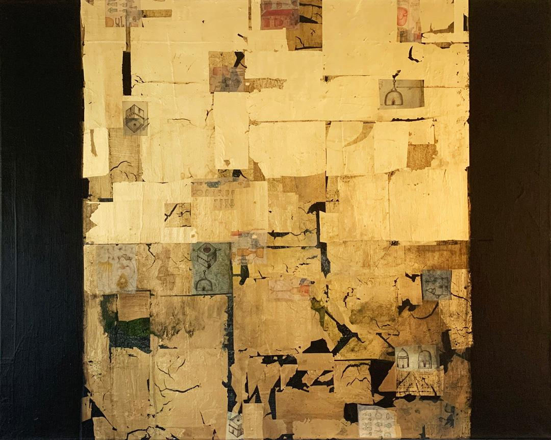Golden Lore IV - contemporary mixed media collage gold abstract