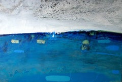 Lone Sail off Fleet -contemporary abstract grey and blue oil on canvas