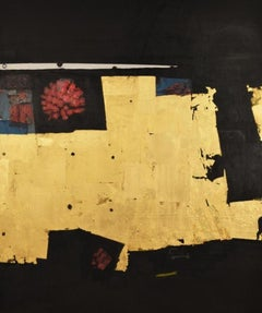 Manhattan Tablet - abstract gold leaf acrylic painting