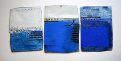 Sea Journal II (triptych) -contemporary blue and white multi-piece mixed media