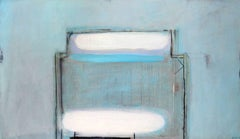 Sky Charm -contemporary abstract blue and white oil on canvas