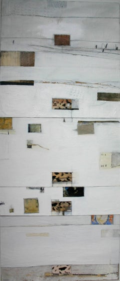 Summer Months -contemporary abstract white and brown oil on canvas