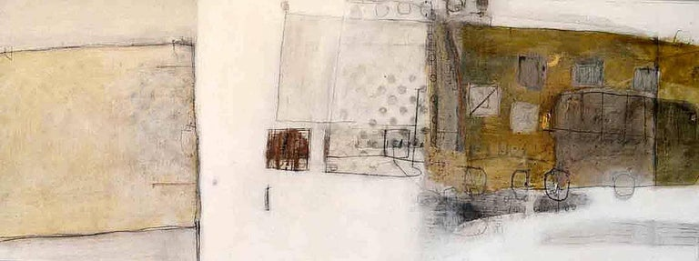 Russell Frampton Abstract Painting - Temple Plan -contemporary abstract white and brown mixed media and oil on canvas