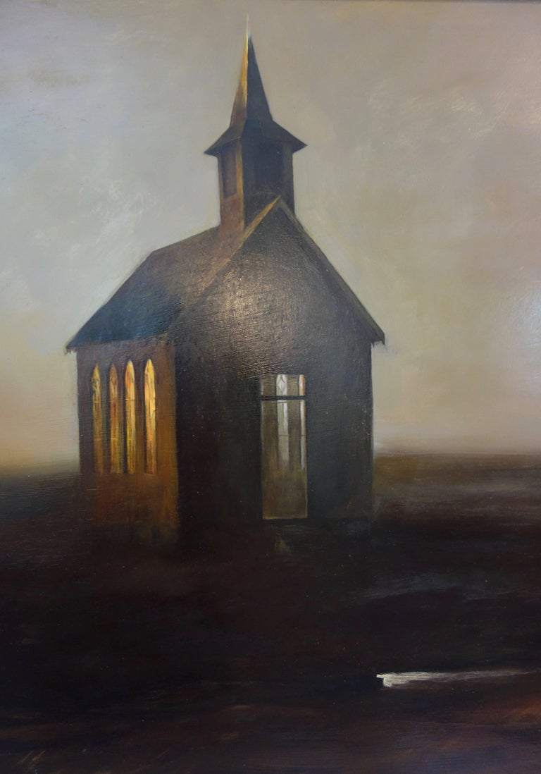 Russell Frost Oil On Canvas Of A Country Church With Horse And Buggy For Sale 3