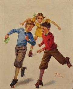 Three Children Skating