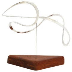 Russell Secrest Abstract Sculpture, Sterling Silver and Teak, Signed