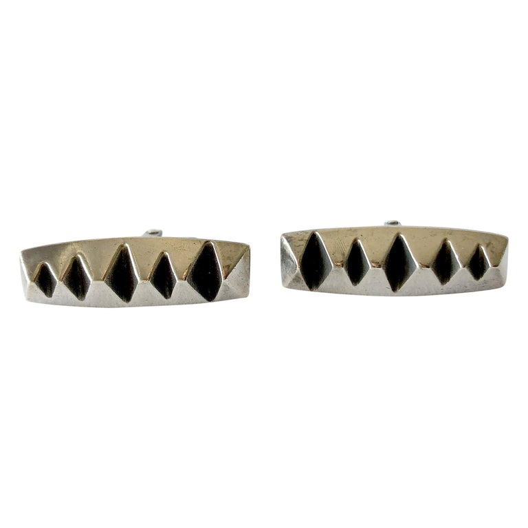Russell Secrest Sterling Silver American Modernist Cufflinks For Sale