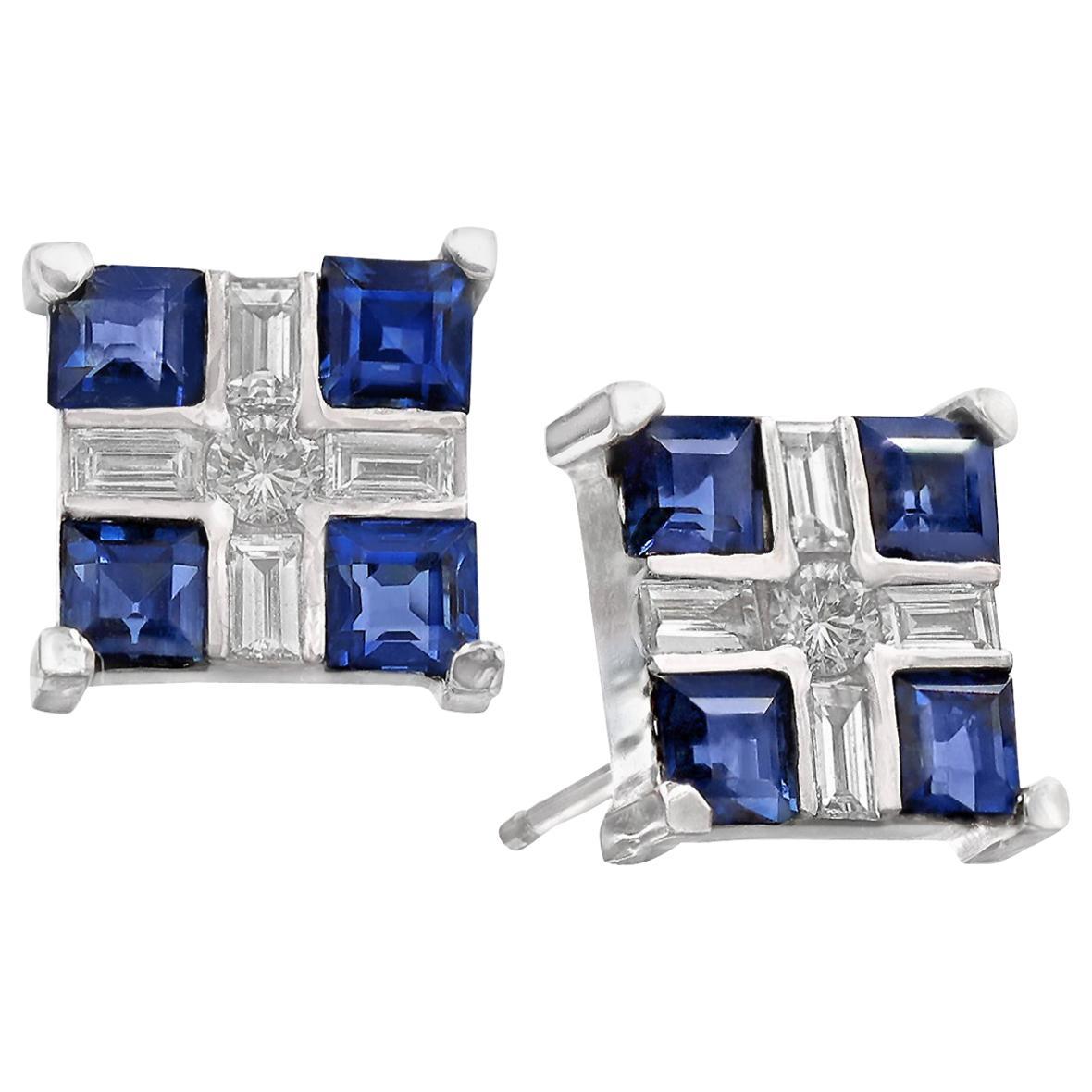 Russell Trusso Baguette Round Diamond Princess Blue Sapphire Cube Stud Earrings