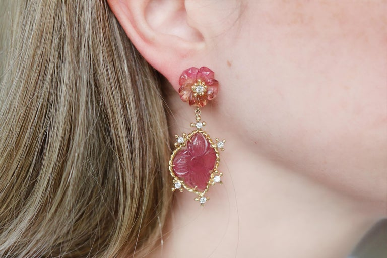 One of a Kind Petal Drop Earrings handmade in intricately-formed 18k yellow gold by jewelry artist Russell Trusso featuring four matched, hand-carved pink tourmaline flowers accented with round brilliant-cut white diamonds and finished on 18k yellow